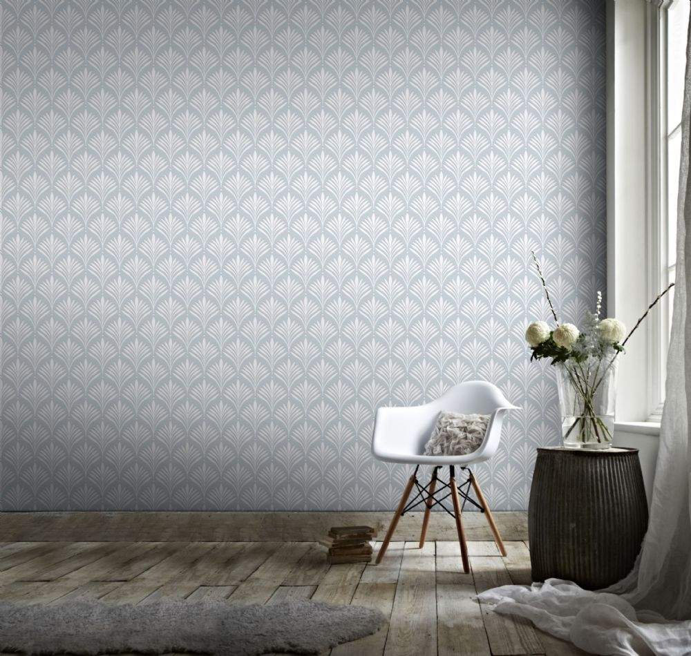 Graham and Brown Bonnie Geo Duck Egg 104116 Wallpaper